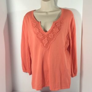 Cable & Gauge pullover Sweater Coral sz.Lg NWOT